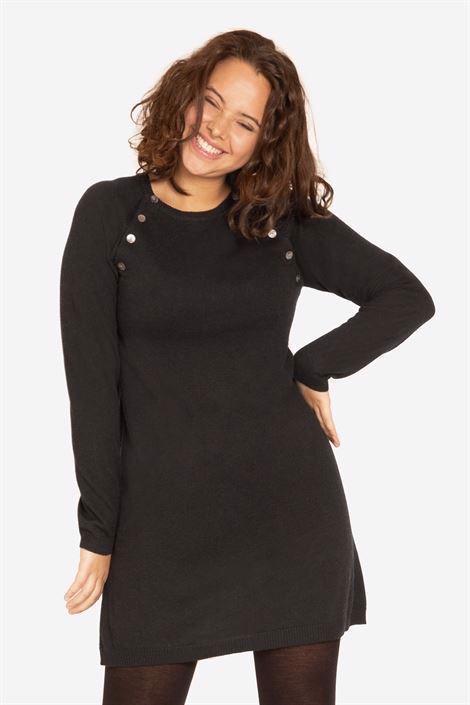 fe2d4ee7784 Robe d allaitement noire en maille de laine viscose à boutons. prev